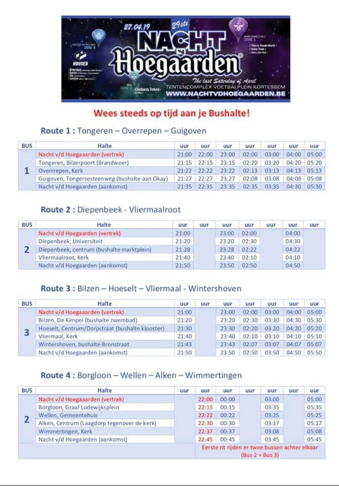Busregeling NVDH 2019